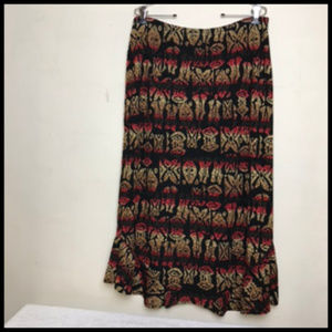 Tribal Print Stretch Maxi Skirt Ruffle Hem